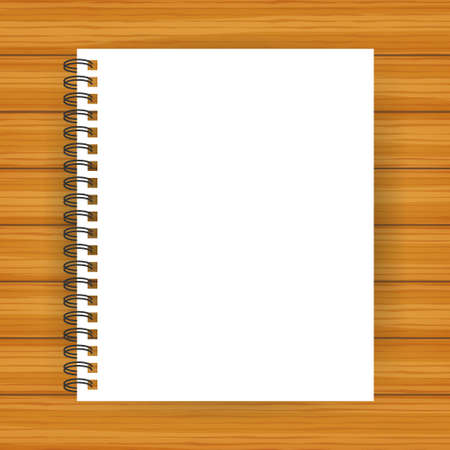 Notebook mockup, with place for your image, text or corporate identity details. Blank mock up with shadow on. Vector illustration.