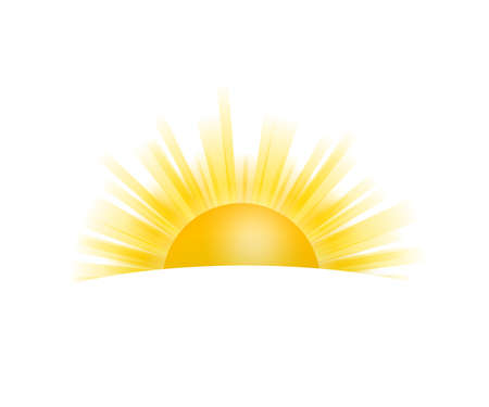 Realistic sun icon for weather design on white background. Vector illustration.