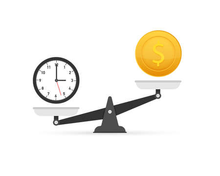 Time is money on scales icon. Money and time balance on scale. Vector illustration. Stock Vector - 124995736