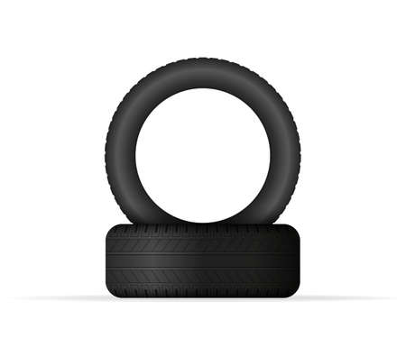 Car tire isolated on white background. Vector stock illustration. 向量圖像