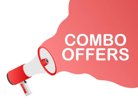 Hand holding megaphone - Combo offers. Vector illustration.