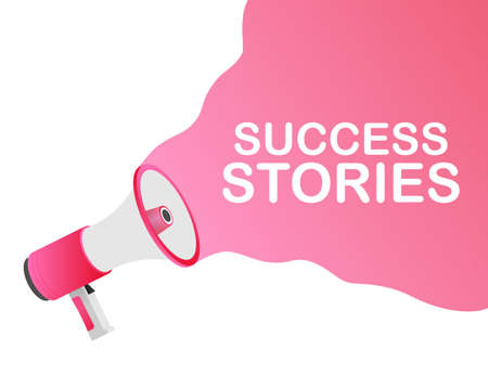 Hand Holding Megaphone with Success stories. Vector stock illustration.
