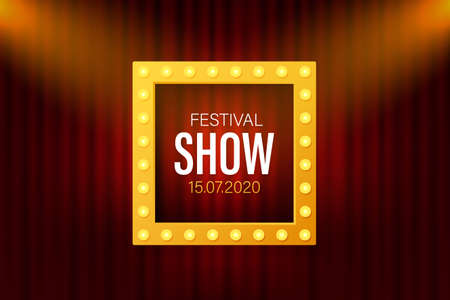 Festival show Poster with Spotlight. Concert, Party, Theater, Cinema. Vector stock illustration. 向量圖像
