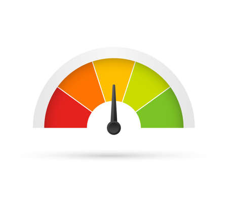 Rating customer satisfaction meter. Different emotions art design from red to green. Abstract concept graphic element of tachometer, speedometer, indicators, score.