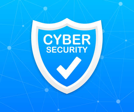 Cyber security icon with shield and check mark. Security shield concept. Internet security. 向量圖像
