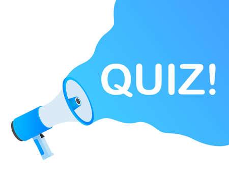 Hand holding megaphone - Quiz  illustration. 向量圖像