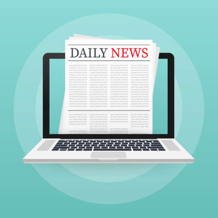 Vector mock up of a blank daily newspaper. Fully editable whole newspaper in clipping mask. Vector illustration,