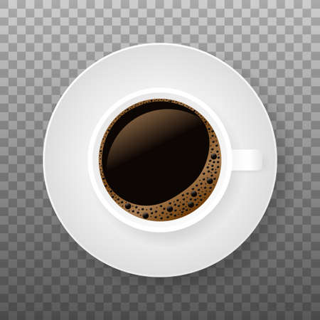 Hot coffee in a white cup and saucer. Vector stock illustration.