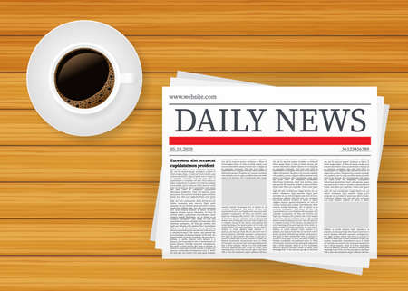 Vector mockup of a blank daily newspaper. Fully editable whole newspaper in clipping mask. Vector stock illustration, 向量圖像