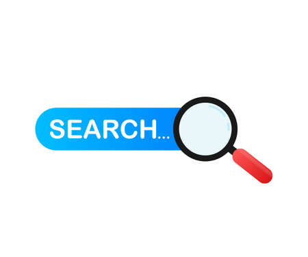 Set Search bar vector element design, set of search boxes ui template isolated on blue background. Vector stock illustration. 向量圖像