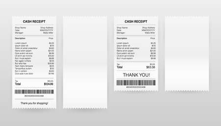 Receipts vector illustration of realistic payment paper bills for cash or credit card transaction. Vector illustration.