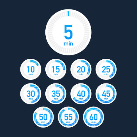 Set of timers. Sign icon. Full rotation arrow timer. Colored flat icons. Set of 12 timer icons. 向量圖像
