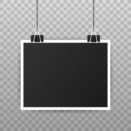 Photo frame mockup design. Realistic photograph with blank space for your image. Vector illustration.