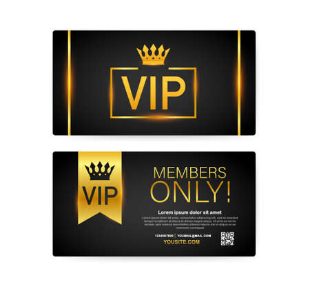 Vip club cards, Members Only Gold ribbon, label. Gold and luxury, membership icon, exclusive and priority.