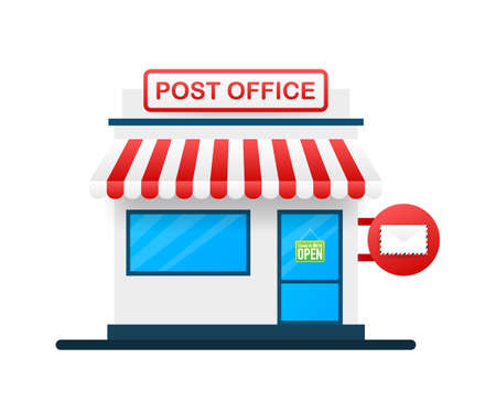 Building of post office. Vector illustration