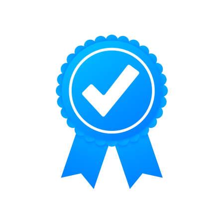Checkmark. Blue approved star sticker on white background. Vector illustration. 向量圖像