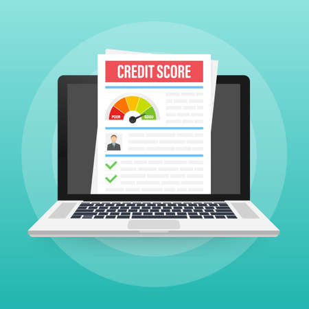 Credit score document. Paper sheet chart of personal credit score information. Vector illustration.