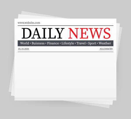 Maquette vectorielle d'un journal quotidien vierge. Journal entier entièrement modifiable dans un masque d'écrêtage. Illustration vectorielle, Vecteurs