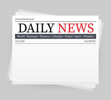 Vector mock up di un quotidiano vuoto. Intero giornale completamente modificabile in maschera di ritaglio. Illustrazione di riserva di vettore, Vettoriali