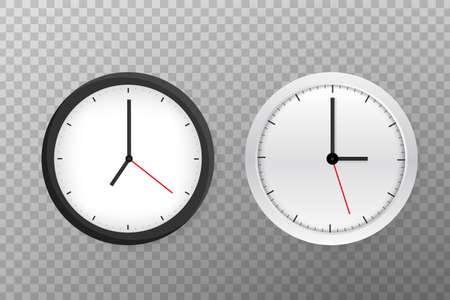 Vector simple classic black and white round wall clock. Vector illustration.