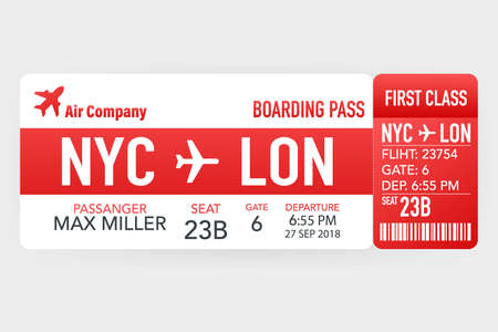 Airline tickets or boarding pass inside of special service envelope. Vector illustration.
