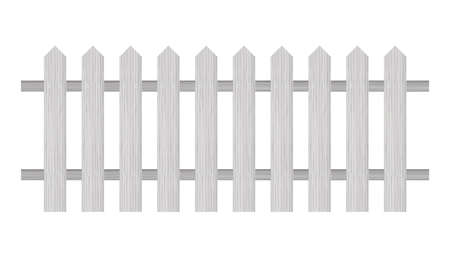 Picket fence, wooden textured, rounded edges Vector illustration
