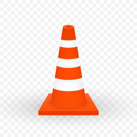 Under construction barrier. Realistic traffic cone. Vector illustration.
