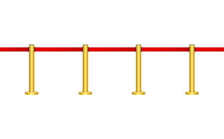 Red carpet with ropes on golden stanchions. Exclusive event, movie premiere, gala, ceremony, awards concept. Vector stock illustration. Stock Vector - 127397352