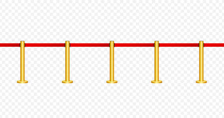 Red carpet with ropes on golden stanchions. Exclusive event, movie premiere, gala, ceremony, awards concept. Vector stock illustration.