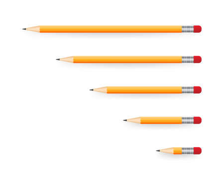 Yellow realistic pencil with shadow. Vector illustration isolated on white background. 일러스트