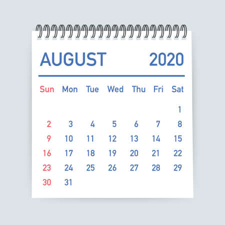 August 2020 Calendar Leaf. Calendar 2020 in flat style. Vector illustration. 일러스트
