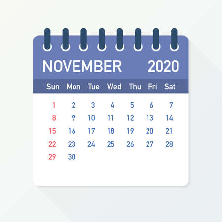 November 2020 Calendar Leaf. Calendar 2020 in flat style. Vector stock illustration.