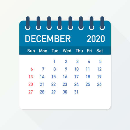 December 2020 Calendar Leaf. Calendar 2020 in flat style. A5 size. Vector stock illustration.