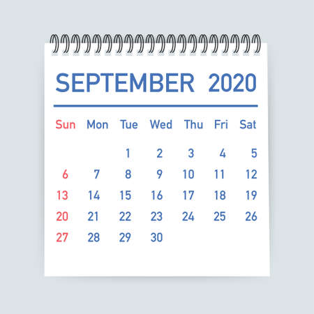 September 2020 Calendar Leaf. Calendar 2020 in flat style. Vector stock illustration.
