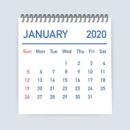 January 2020 Calendar Leaf. Calendar 2020 in flat style. Vector stock illustration.