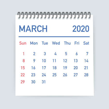 March 2020 Calendar Leaf. Calendar 2020 in flat style. Vector stock illustration.