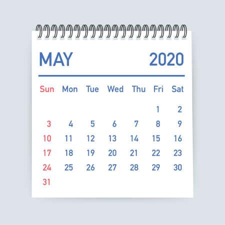 Hoja de calendario de mayo de 2020. Calendario 2020 en estilo plano. Ilustración de stock vectorial.
