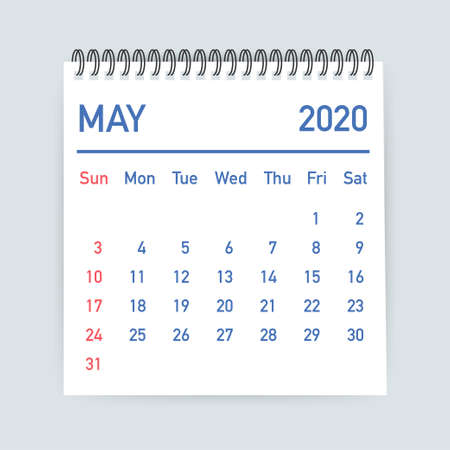 May 2020 Calendar Leaf. Calendar 2020 in flat style. Vector stock illustration.
