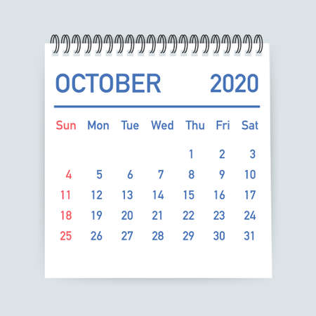 October 2020 Calendar Leaf. Calendar 2020 in flat style. Vector stock illustration. 일러스트