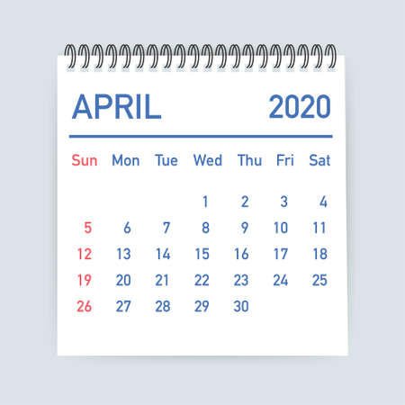 April 2020 Calendar Leaf. Calendar 2020 in flat style. Vector stock illustration. 일러스트