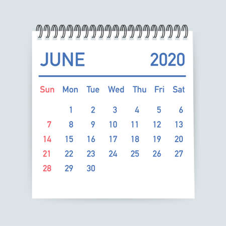 June 2020 Calendar Leaf. Calendar 2020 in flat style. Vector stock illustration. 일러스트