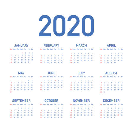 Calendar 2020 vector basic grid. Simple design template. Vector stock illustration.