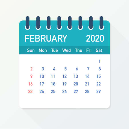 February 2020 Calendar Leaf. Calendar 2020 in flat style. Vector stock illustration.