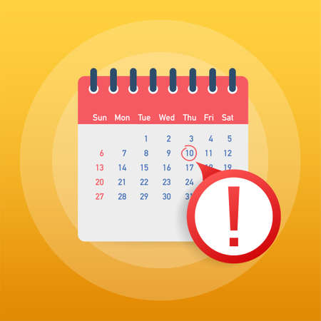 Calendar deadline or event reminder notification. Schedule, appointment, important date concept. Vector illustration. 일러스트