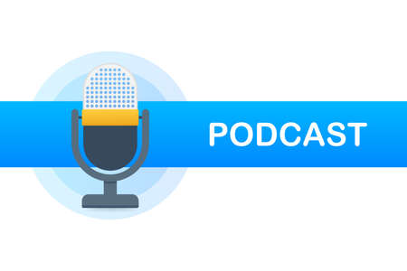 Podcast. Badge, icon stamp logo Vector stock illustration 일러스트