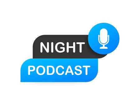 Night Podcast icon, vector symbol in flat isometric style isolated on color background. Vector illustration.