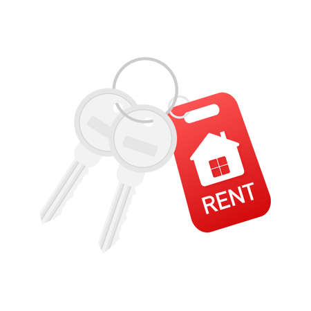 For rent house, concept. Real estate agent holds the key from the home. Template for sale, rent home. Vector stock illustration