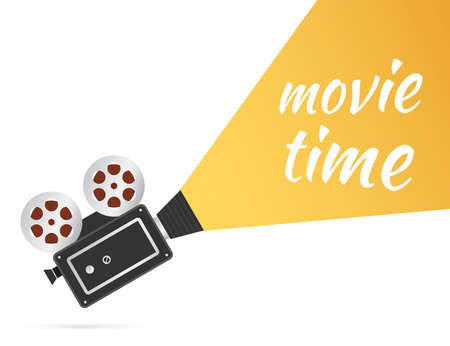 Lovely movie time concept layout with film projector and text area with sample title in retro western font. Vector stock illustration.