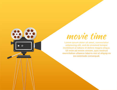 Lovely movie time concept layout with film projector and text area with sample title in retro western font. Vector illustration.