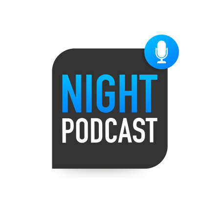 Night Podcast icon, vector symbol in flat isometric style isolated on color background. Vector stock illustration.